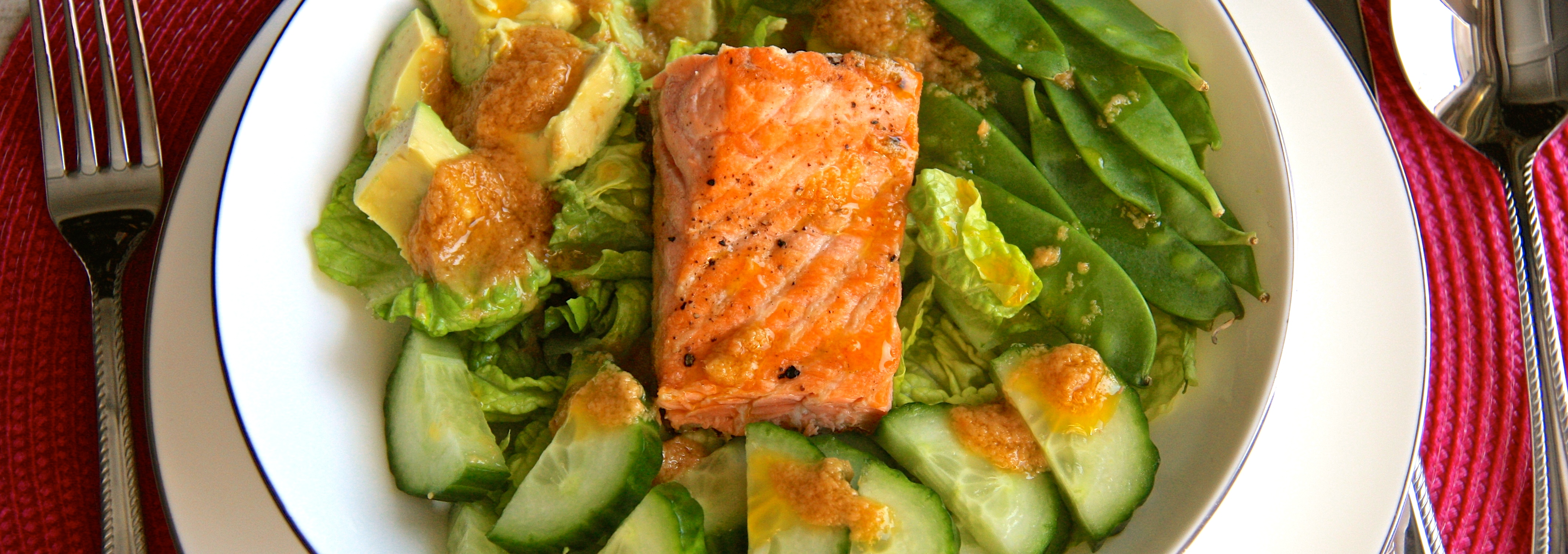 Asian Salmon Salad with Miso Ginger Dressing