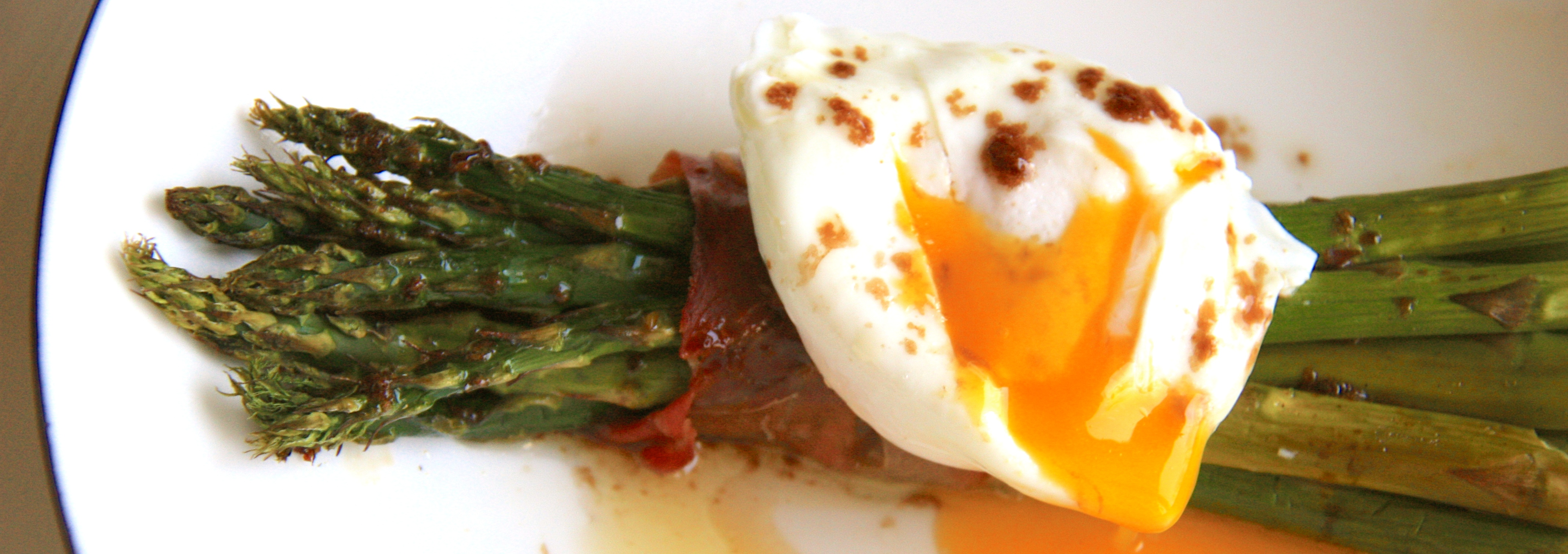 Prosciutto Wrapped Asparagus & Poached Egg with Balsamic Butter