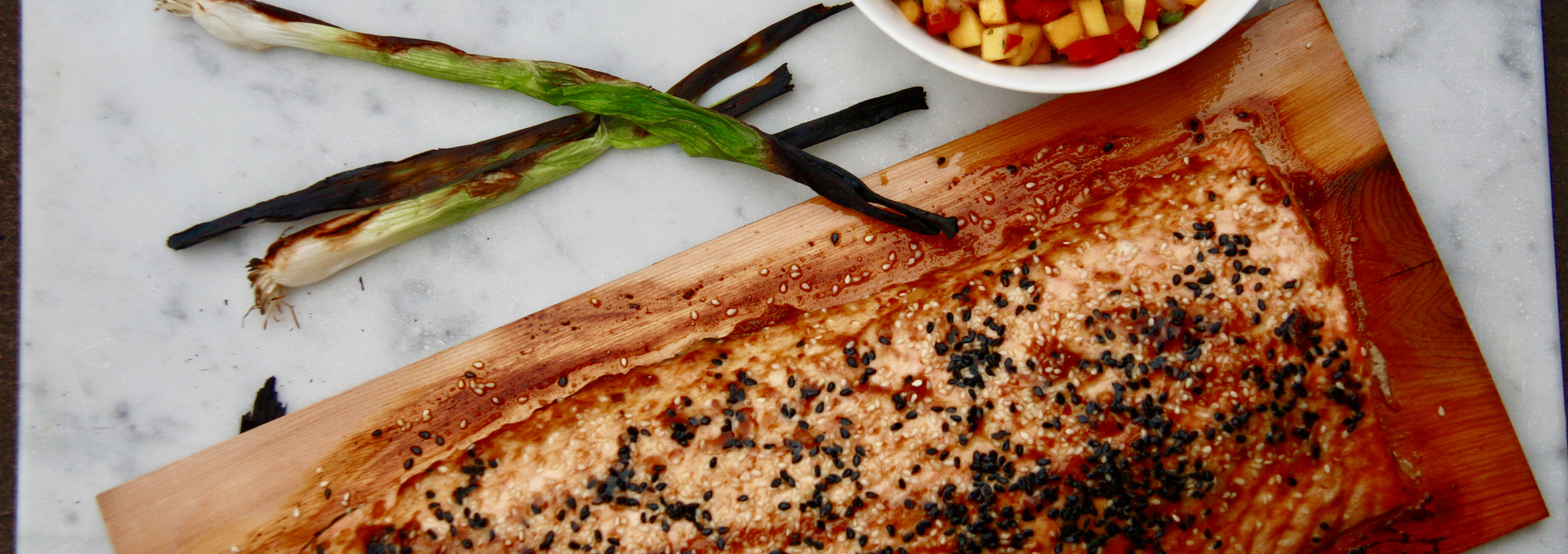 Asian Cedar Plank Salmon with Mango Salsa