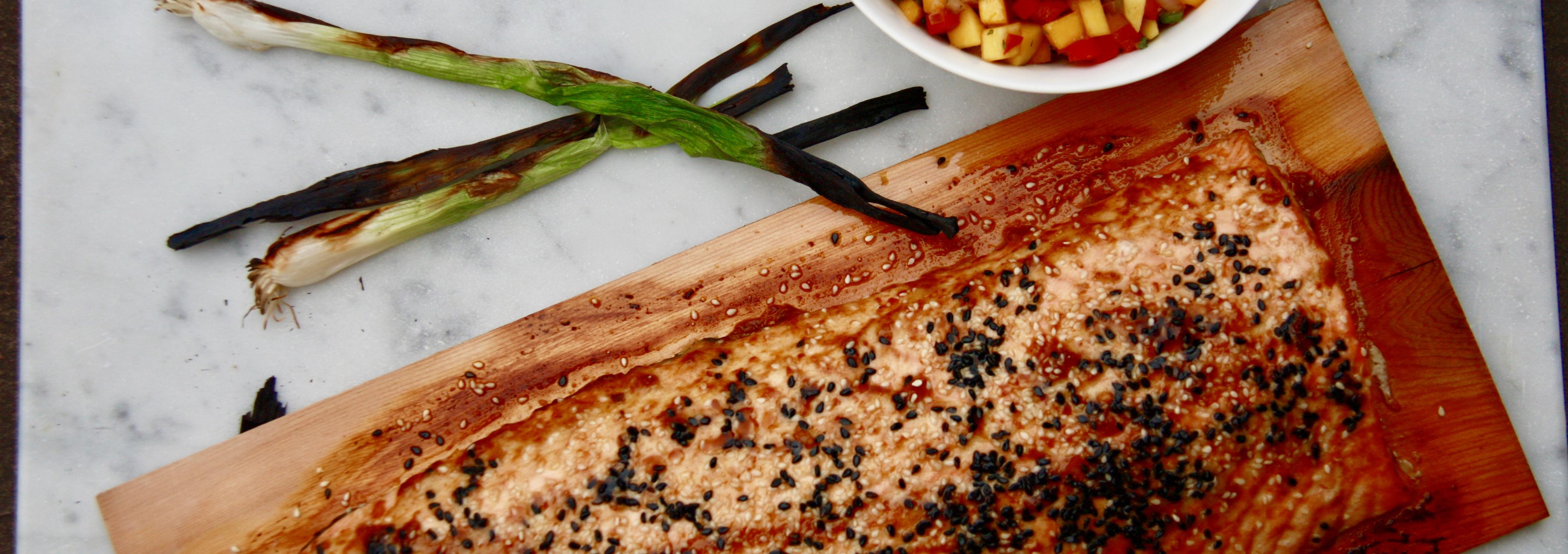Asian Cedar Plank Salmon with Mango Salsa
