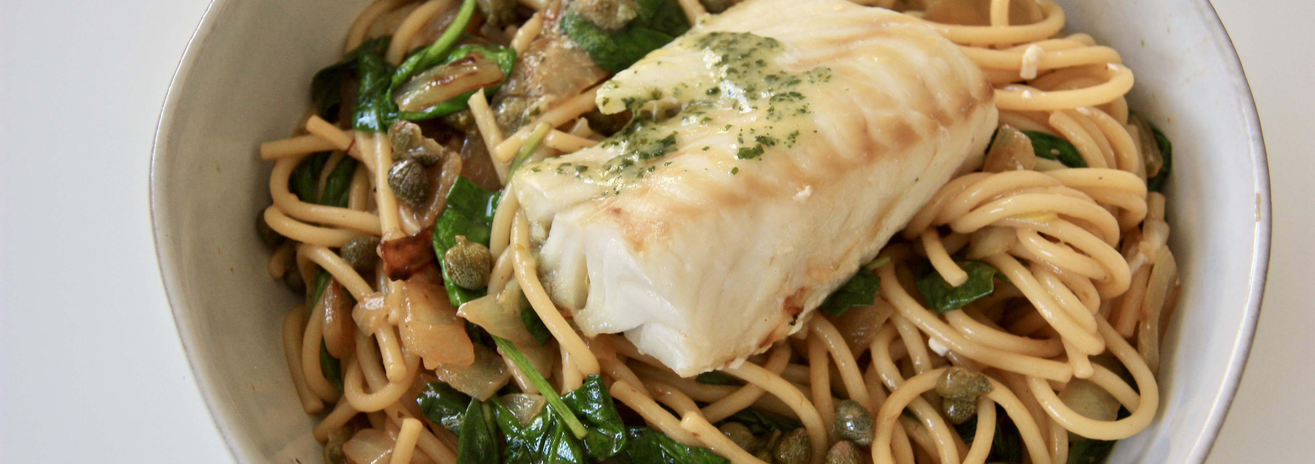 Steamed Delicious Cod Loins with Lemon Spinach Spaghetti